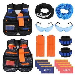 2X-Jeu-d-039-enfant-gilet-tactique-Kit-set-nerf-Guns-N-Strike-Elite-exterieur-jouet