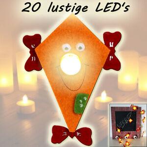 2x-LED-LICHTERKETTE-FILZ-Drache-Herbst-DEKO-Batterie-Timer-weiss-750