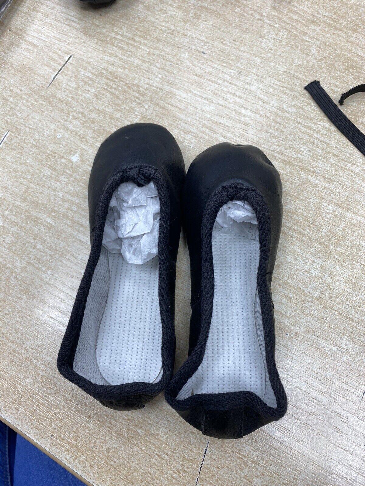 Black Leather Ballet Shoes - Infants Size 6