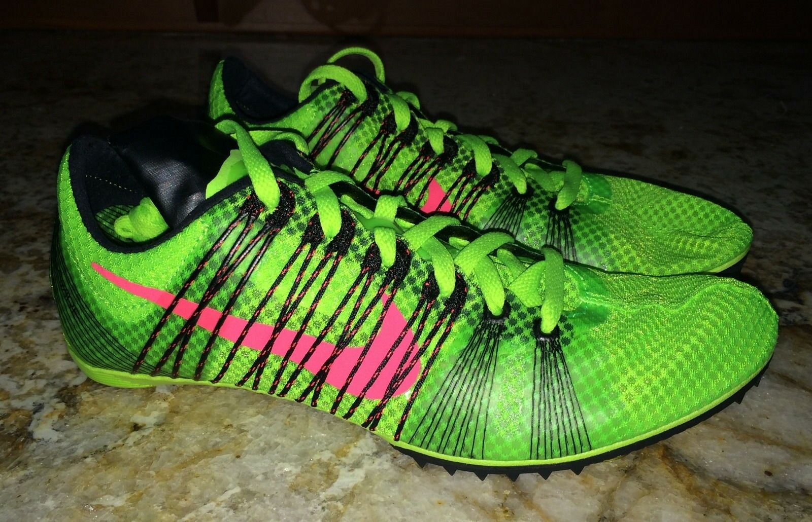 NIKE Victory 2 Lime Green Mid Distance Track Spikes Shoes 5.5 6.5 9.5 10.5 12.5