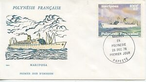 FIRST-DAY-COVER-PREMIER-JOUR-POLYNESIE-PAPEETE-NAVIRE-BATEAU-1978