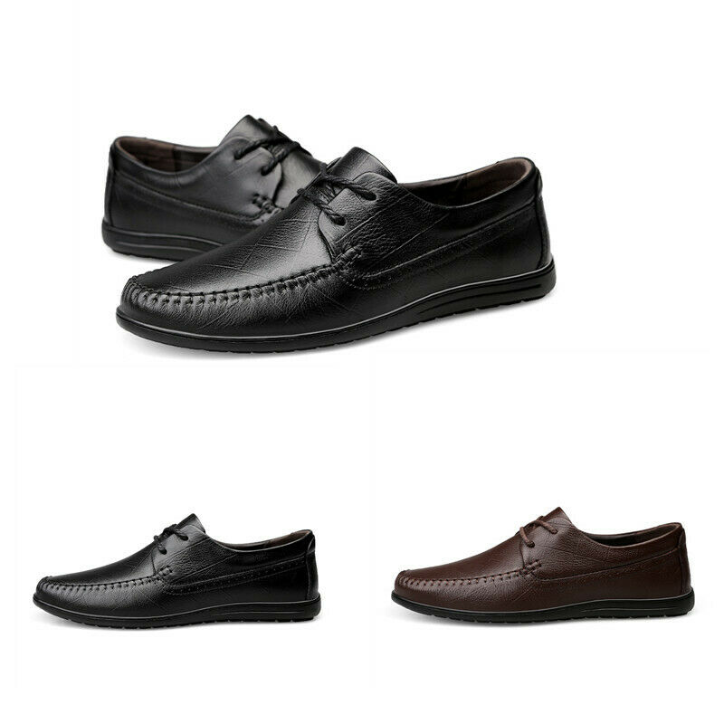 Mens Solid Pumps Lace Up Round Toe Comfortable Casual Driver Flat Heel shoes Hot