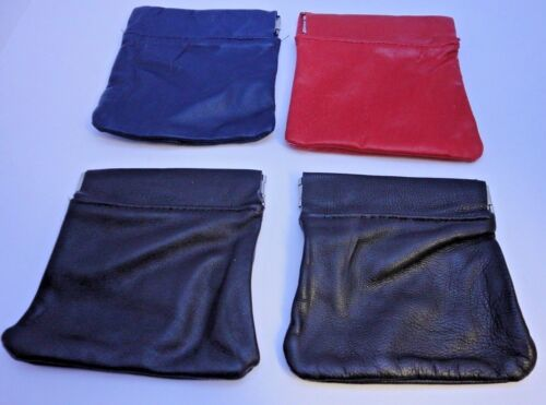 BEAUTIFUL SOFT LEATHER COIN POUCH IN 4 DIFFERENT COLOURS