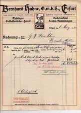 Bernhard Hahne Erfurt histor. Rechnung 1920 Thüringen Buchdruckerei Bücher Hahn
