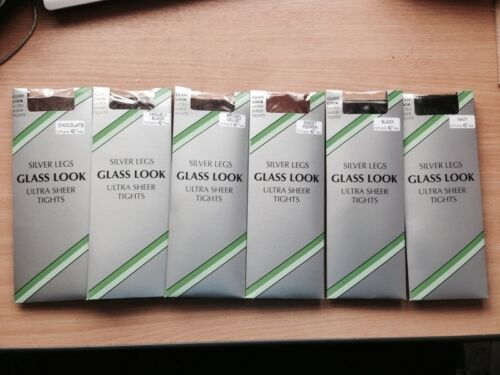 """Glass Look Sheer 6 colours available Tights One-size Tights to 42/"""" hips"""