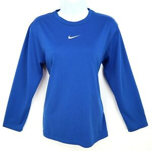 Nike-Shirt-Dri-Fit-Semi-Fitted-Top-Womens-Size-L-Blue-100-Polyester-Long-Sleeve