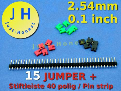 KIT Jumper 15x 1x barra penna//pin strip 40 Poli//PIN ROSSO VERDE NERO #a236
