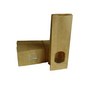 Blockbodenbeutel-Teebeutel-Verpackungstuete-100g-braun-mit-Sichtfenster-50-Stueck