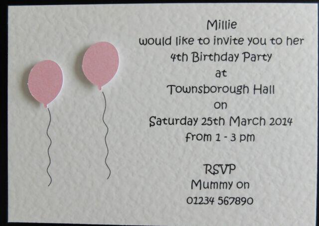 10 Handmade Personalised Birthday Invitations Girl/Boy 1st 2nd 3rd 4th 5th 6th