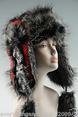 Wool Faux Fox Fur Winter Mongolian Hat Ushanka Trapper Russian Style Red & Grey