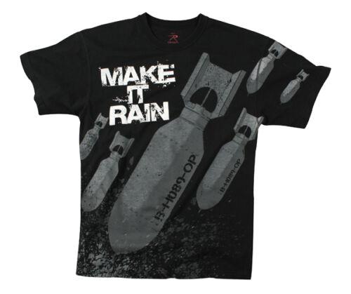 """Rothco 66380 Mens Tee Shirt /""""Make it Rain/"""" Black T Shirt"""