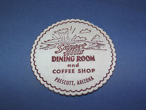 VINTAGE-SUNSET-HILLS-DINING-ROOM-amp-COFFEEE-SHOP-PRESCOTT-ARIZONA-PAPER-COASTER