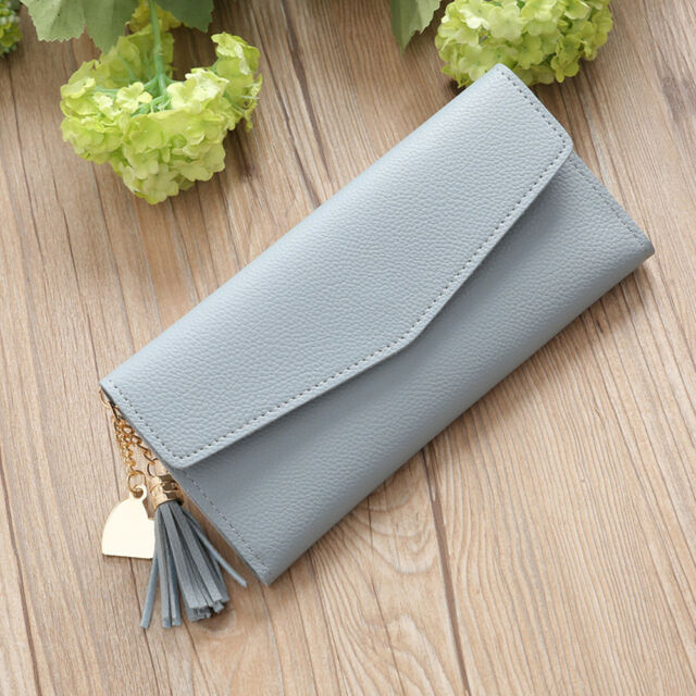 Fashion Women Wallet Tassel Heart Hasp Long Wallet Coin Purse Card Holder Gift