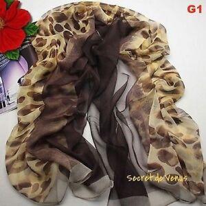 Etole écharpe femme 100 % SOIE chic fond marron esprit léopard sobre ... cbf2a65bc97