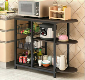 Details about 3Tier Microwave Oven Cart Bakers Rack Kitchen Storage Shelves  Stand Home US