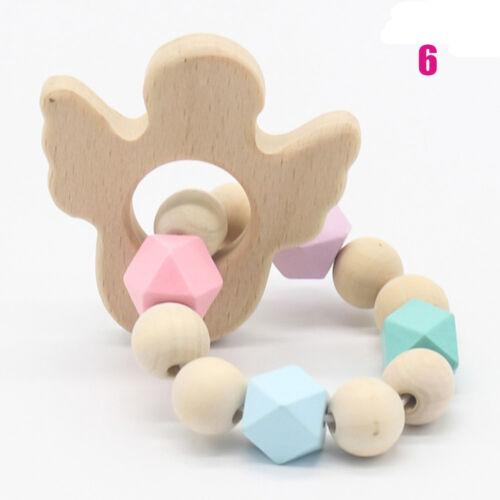 tier rasseln teether armbänder cartoon baby spielzeug aus holz baby zahnt