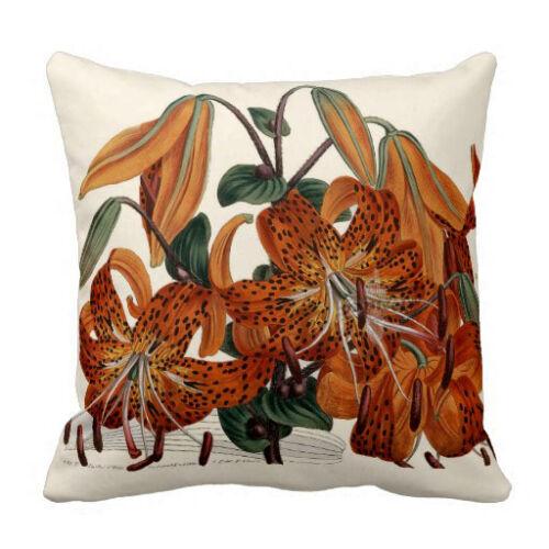 "Flower Spring Decor Curtis Botanical Throw pillow 16/"" x 16/"" Tiger Lily"