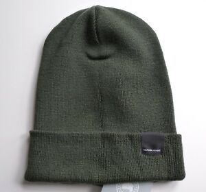 Image is loading Genuine-CANADA-GOOSE-Military-Green-MERINO-WOOL-BEANIE- 77a1e91e665