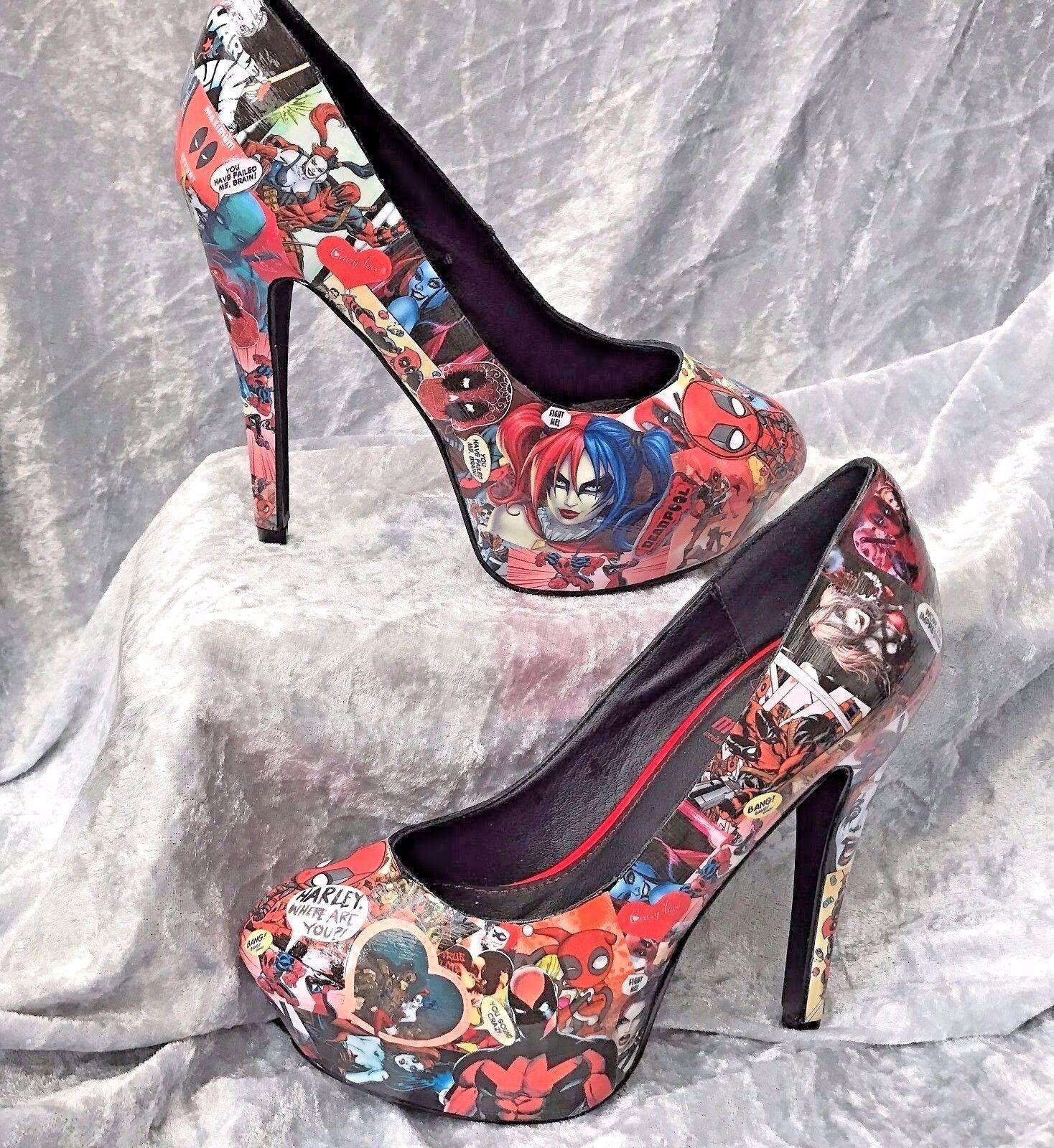 Harley Quinn & & & Deadpool personnalisé DECOUPIS Chaussures. Geek cosplay. Tailles UK 3-8 0ff522