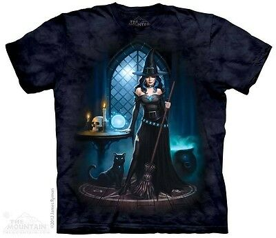 THE MOUNTAIN WITCH'S LAIR SPELLS POTIONS SKULL BLACK CAT BROOM MAGIC SHIRT S-4XL