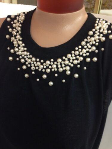 Top Xs Millau Black Taglia Pearls Crop wF0FHq