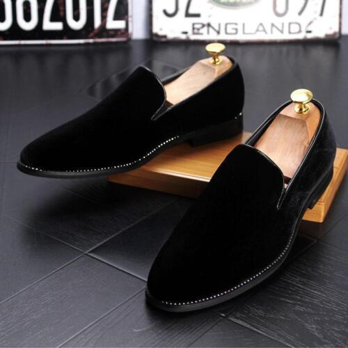 Men/'s Velvet loafer Casual slip on Dress oxford Formal Business wedding Shoes