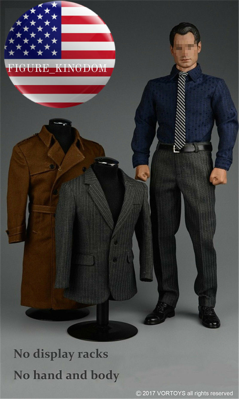 1 6 Trench Coat Suit For SUPERMAN Clark Kent Ganghood MUSCULAR Hot Toys Figure
