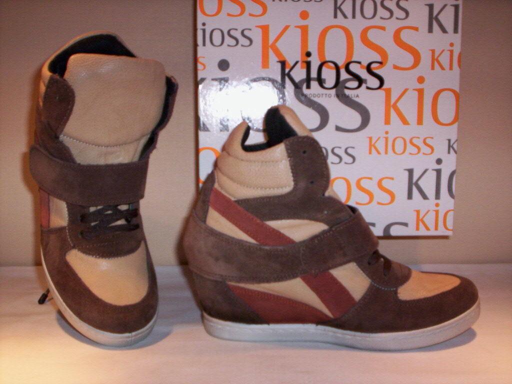 Zapatillas cuña deportivas altos Kioss mujer casual cuña Zapatillas piel marrón 37 38 39 40 2cde2a