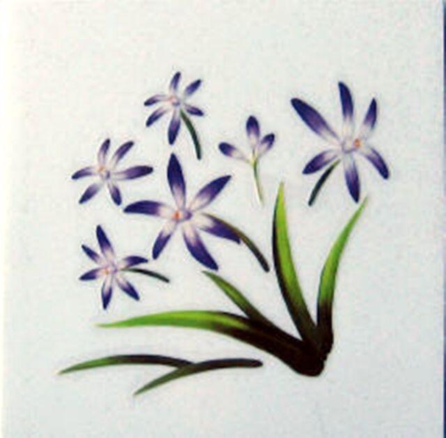 Purple Flower Rub On Permanent Transfer Decal Glass Tiles Plastic DT13