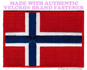 NORWAY-FLAG-PATCH-NORWEGIAN-EMBROIDERED-SOUVENIR-new-w-VELCRO-Brand-Fastener