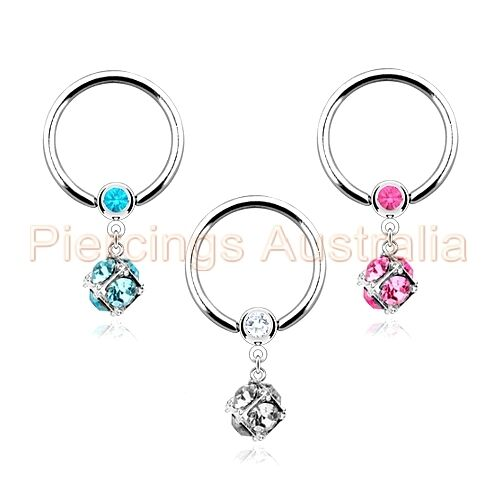 14G Gem Dangle Captive Ring Body Piercing Jewellery CHOOSE SINGLE OR PAIR