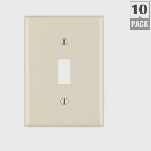 LEVITON Almond Plastic TOGGLE WALL PLATE 1 Switch Opening 10 PACK 78001-TMP New