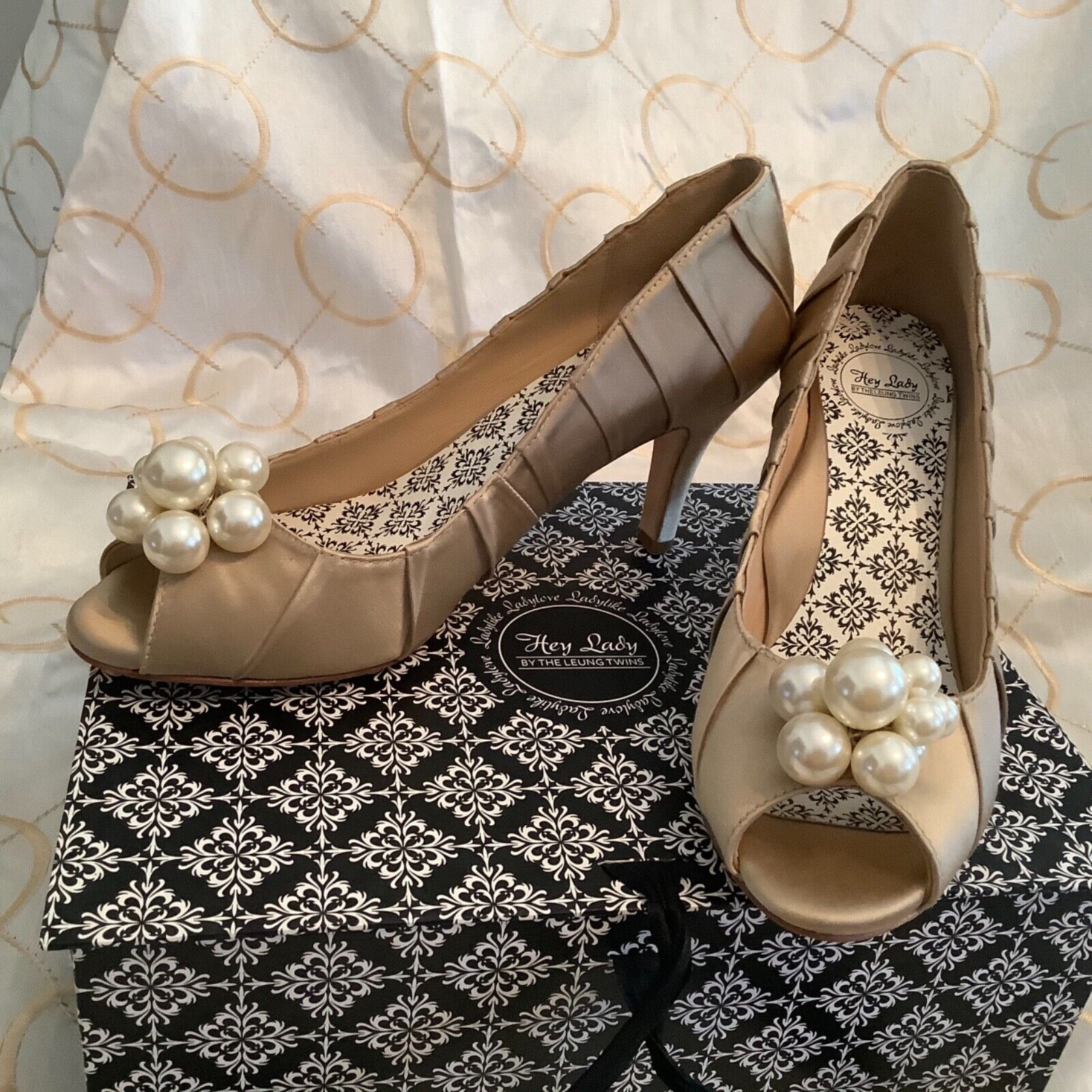 Hey Lady COMFORTABLE Wedding Formal Prom Dress Shoes Champagne Goggles 8.5