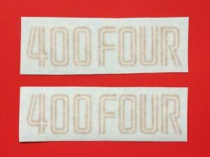 HONDA-400-FOUR-SIDE-PANEL-APPLICATION-DECALS-GOLD-PAIR-1975-76-BLUE-MODEL