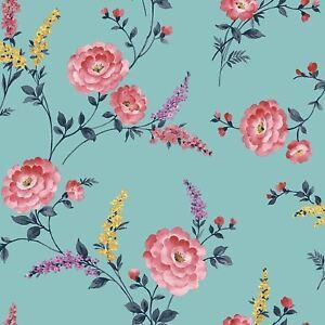 Sophie-Conran-Posie-Floral-Papier-Peint-Fleurs-Metallique-950806-Bleu-Azur