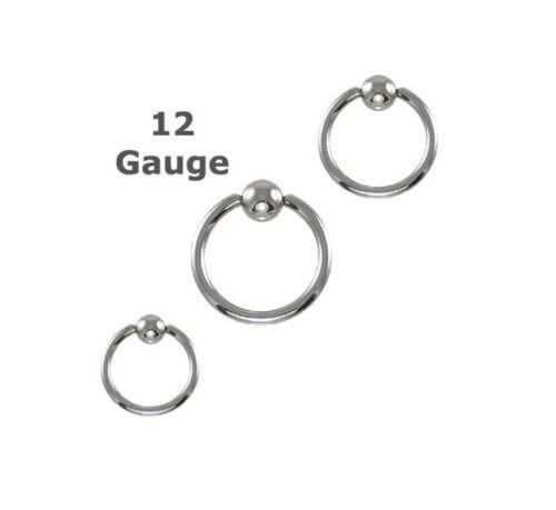 "Single Heavy 12g Gauge Captive Ring 1//2/"" 12mm Ear Lip Nose Eyebrow Piercing"