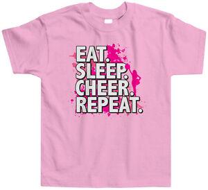 Eat Sleep Cheer Repeat Kids Toddler T-Shirt Tee Cheerleader Slogan