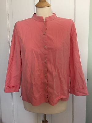 Eileen Fisher Pink Mandarin Collar Button Down Shirt Long Sleeve  Cotton Top M