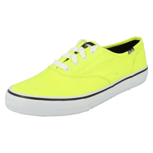 R43B Keds Double Dutch WF46805 Donna Giallo Neon Lacci Scarpa in Tela