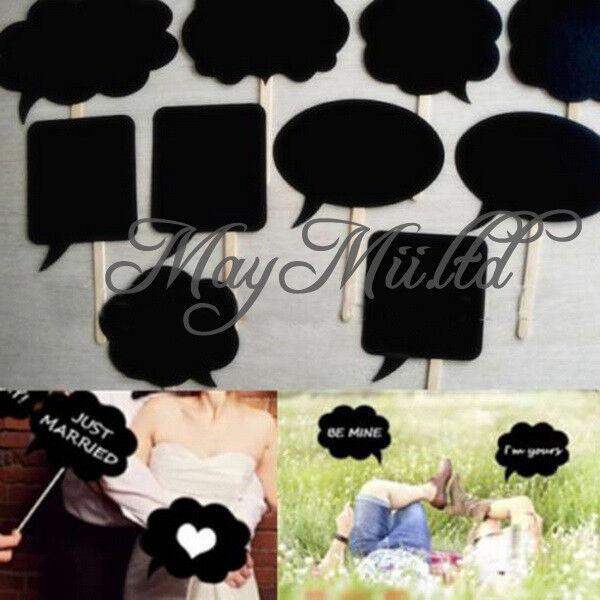 10Pcs Photo Booth Prop DIY Bubble Speech Chalk Board Wedding Party Photobooth