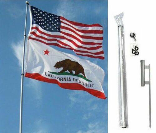 Fiberglass Telescoping Flag Pole Flagpole Kit With Ground Spike 28ft Foot