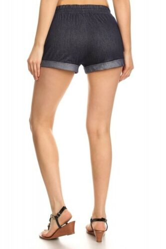 Women/'s Vintage Two Tone Stretchy Drawstring Denim Jean Shorts