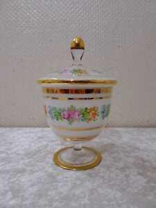 Vetro Alabastro Scatola Bomboniera - Dipinti a Mano - Bordo Oro - Vintage -