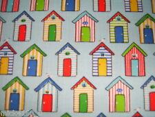 Seaside Beach Hut & Seagull (Blue)  Poly Cotton Fabric - Per Metre