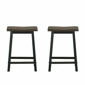"Set of 2 Bar Stools 29/""H Saddle Seat Pub Chair Home Kitchen Dining Room Gray"