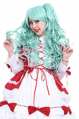 65cm long Teal Green Anime Lolita clip on ponytail curly wave cosplay wig RW139G