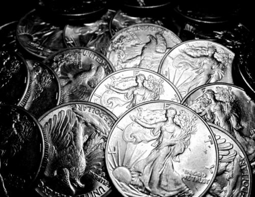 Circulated 1940-47 Walking Liberty Half Dollars AU-XF 90/% Silver Lot of 5