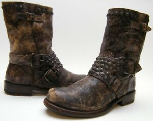 WOMENS-FRYE-BROWN-DISTRESSED-LEATHER-STUDDED-ENGINEER-SHORT-BIKER-BOOTS-SZ-7-B