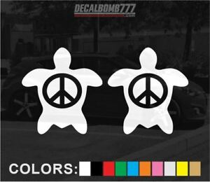 Set-of-2-Turtle-Peace-Decals-Stickers-Turbo-Truck-Kayak-Diesel-Car-Sea-Creature