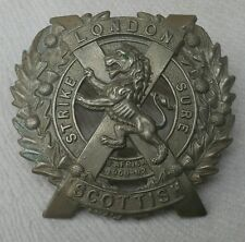 Strike Sure -14th County of London Battalion (London Scottish) Army Hat Badge